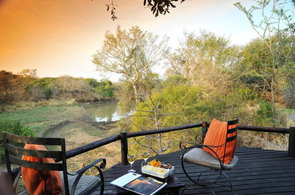 Enjoy incredible views and snacks from the Waterbuck Game Lodge viewing deck.