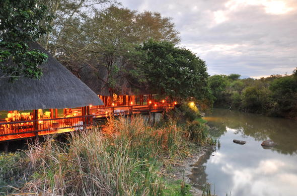 The exterior of Waterside Lodge in Thornybush Private Game Reserve.